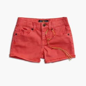 [Lucky Brand] Orange Riley Frayed Jean Shorts 4 27